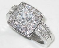 TK1088 2PS ENGAGEMENT RING SIMULATED DIAMOND WEDDING BAND ...