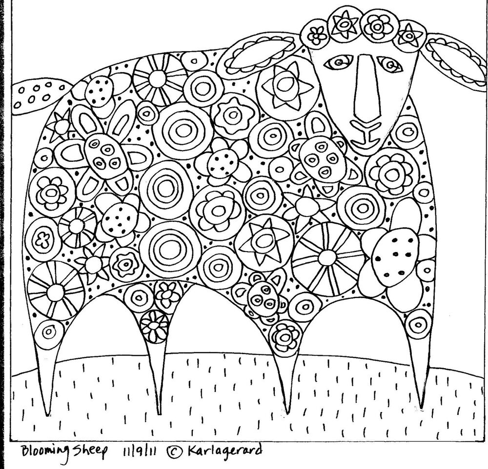 RUG HOOK PAPER PATTERN Blooming Sheep FOLK ART ABSTRACT