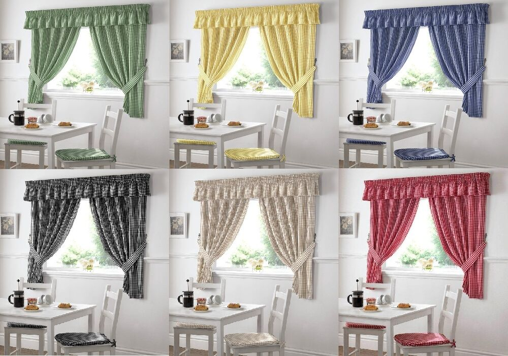 NEW GINGHAM CHECK KITCHEN CURTAINS WITH FREE TIE BACKS HEADER TAPE TAPE TOP EBay