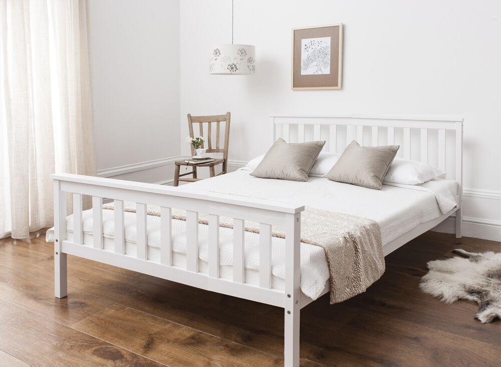 Double Bed In White 4396 Wooden Frame White Ebay