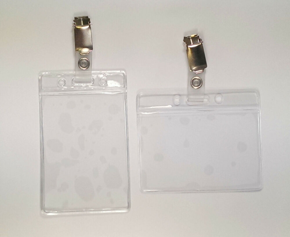 25 x Clear Flexible ID Card Badge Holders & Strap Clips