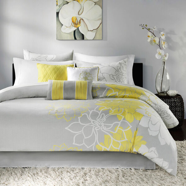 NEW 7 PIECE KING COMFORTER SET YELLOW FLORAL GRAY WHITE