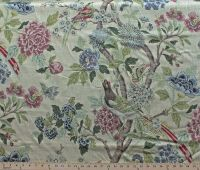 Whipporw Birds Floral Decor Decorator Weight Fabric Print ...