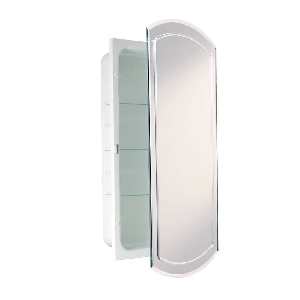 VGroove Beveled Eclipse Mirror Recessed Metal Bathroom