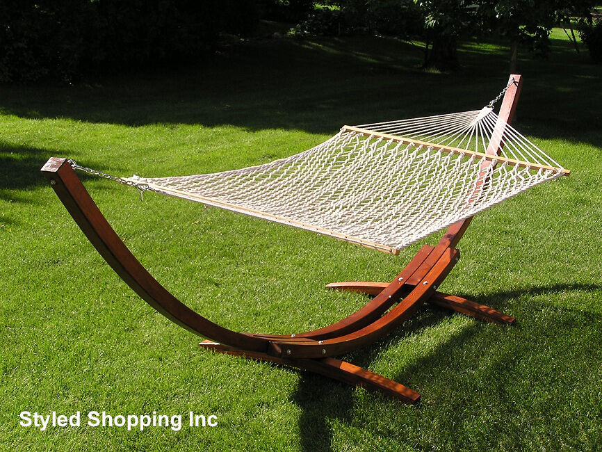hammock chair with canopy resin adirondack chairs home depot deluxe wood arc two person adult stand set 797734470635 | ebay