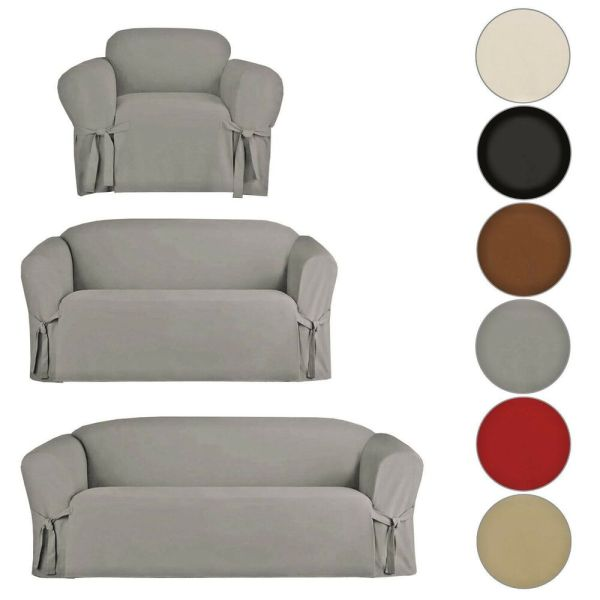 Micro Suede Slipcover Sofa Loveseat Chair Furniture Cover Brown Black Taupe