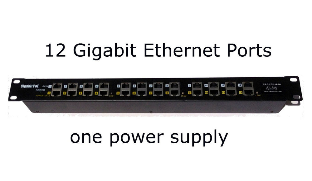 Gigabit Passive Power Over Ethernet Poe Injector 12 Port