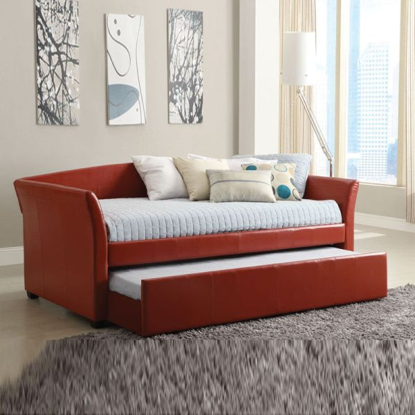 Delmar Contemporary Leatherette Platform Daybed Day Bed Guest Twin Trundle Red 848702019377