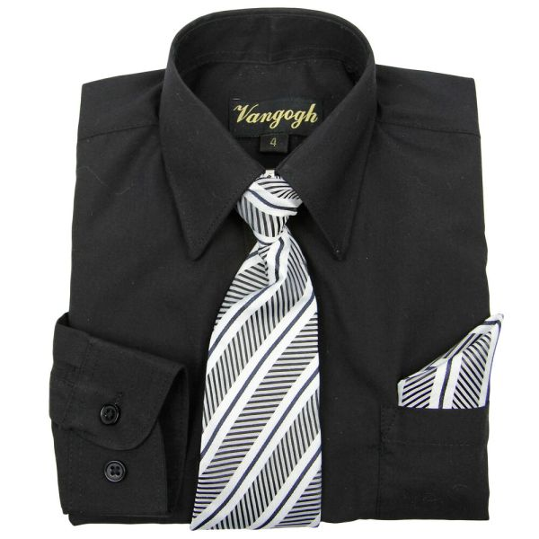 Boys Black Dress Shirt With Matching Tie & Hankie Long Sleeve Sizes 4 20