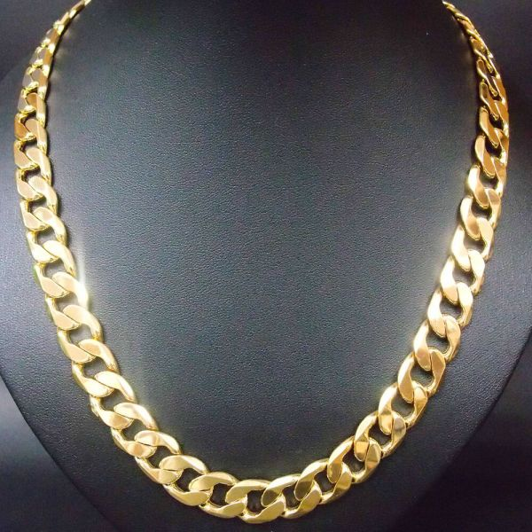 12mm Italy 24k Yellow Gold Filled Men' Necklace 61cm Long Curb Chain Exclusive