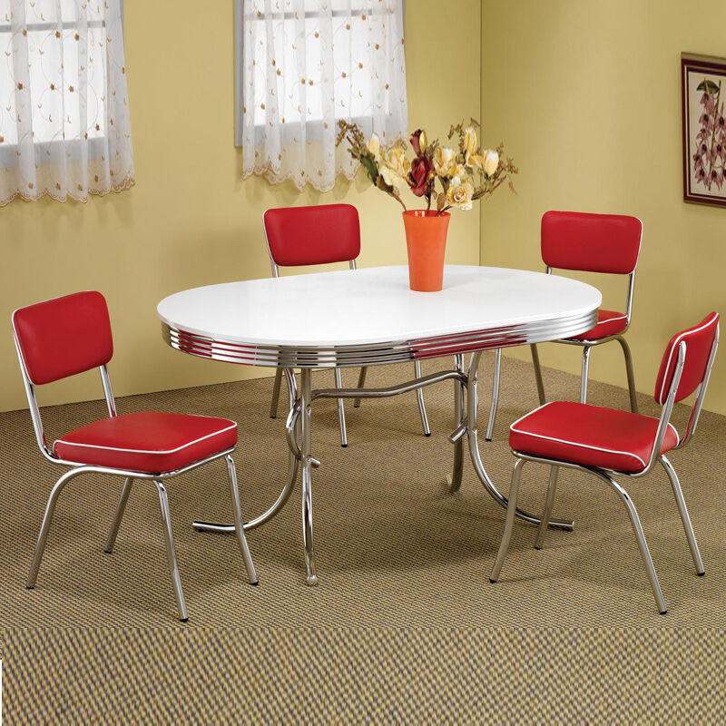 Retro 1950s Oval Table Red Black Cushion Chair 5 PC