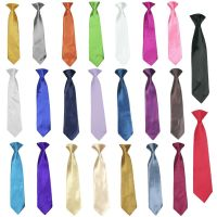 Stain Solid 23 Color Clip on Long tie Necktie for Boys ...