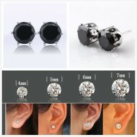 18K White Gold Plated Black Round Cubic Zirconia CZ Stud ...