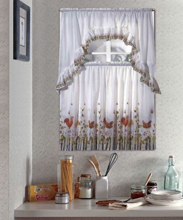 Rooster Swag Kitchen Curtains Tier Sets