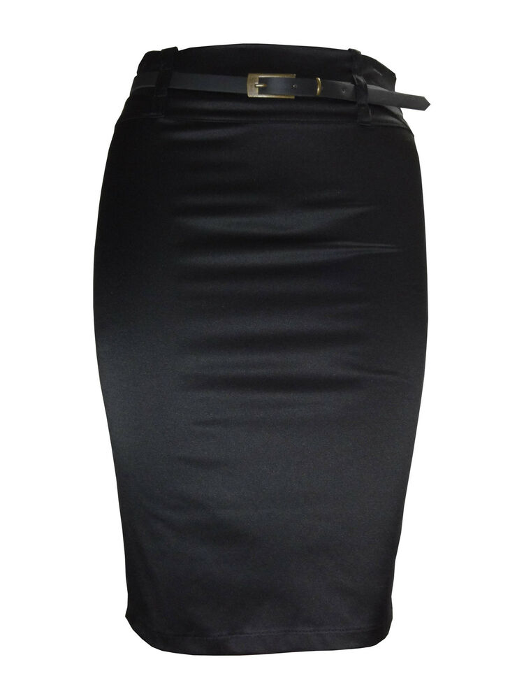 SATIN PENCIL SKIRT FOR WOMEN LADIES PLAIN BLACK STRETCH PLUS SIZE 8 18 STN EBay