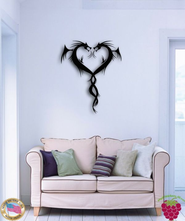 Wall Sticker Dragons Fantasy Cool Modern Decor Living