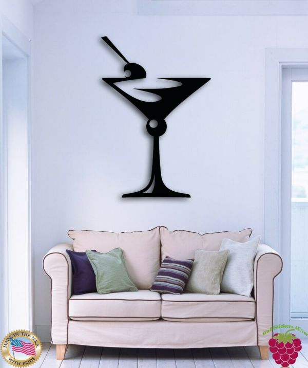 Wall Sticker Drink Glass Of Martini Great Decor Bar Kitchen Z1505