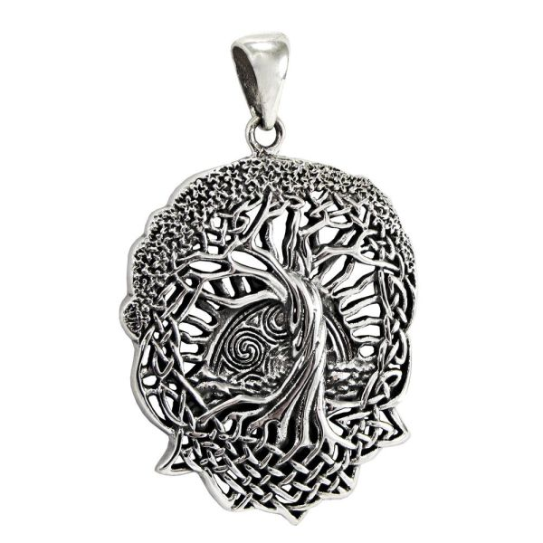 Tree Of Life Pendant Sterling Silver Celtic Knot Jewelry Yggdrasil Sun Moon