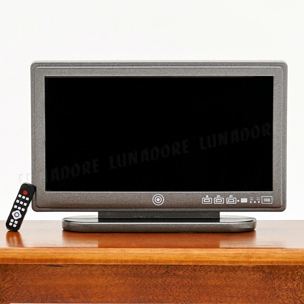 A Black Resin Television TV Wide Screen Miniature Toy Doll