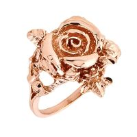 14k Rose Gold Handcrafted Ladies Rose Flower Design 1.9MM ...