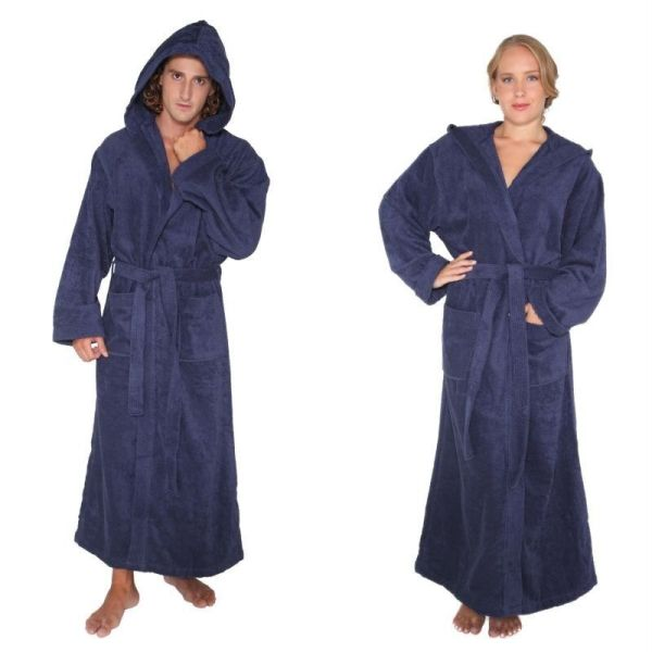 Mens Womens Turkish Cotton Terry Light Weight Hooded Long Bathrobe Navy Blue
