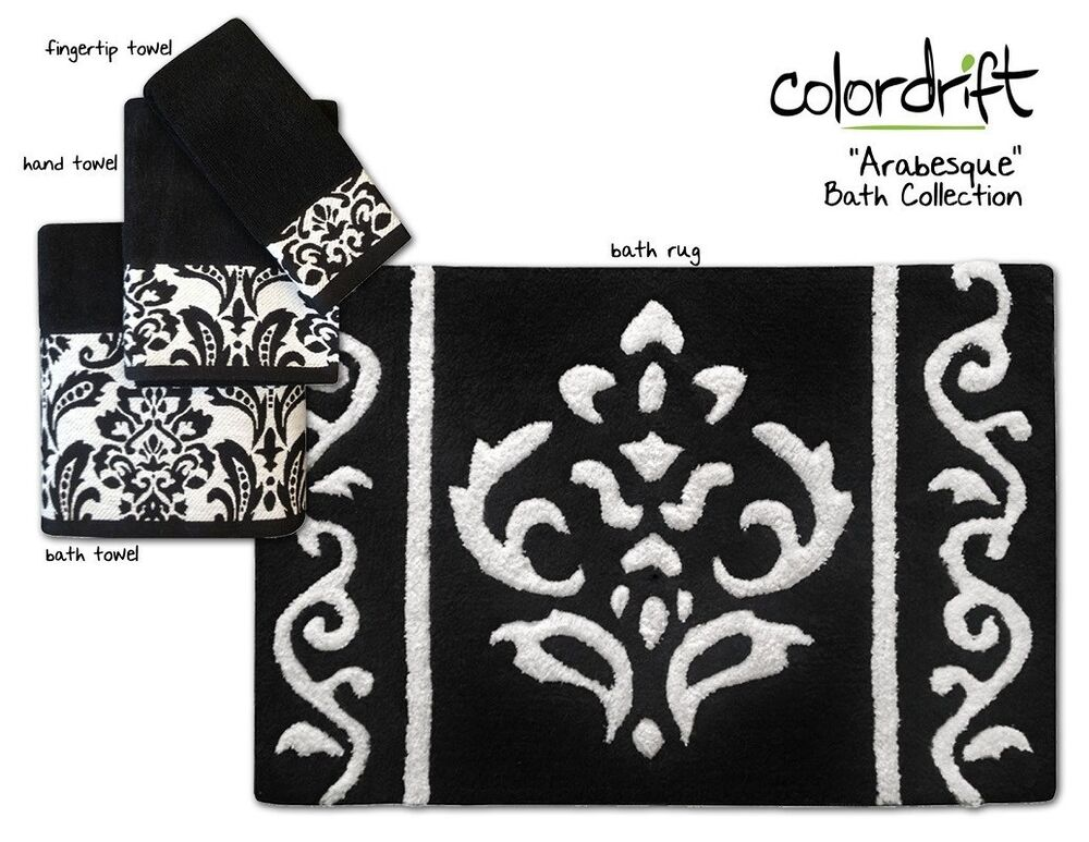 new! arabesque bath collection - assorted towels & rugs - black