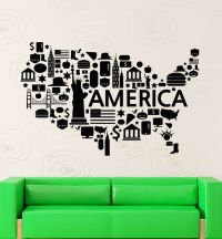 Wall Stickers Vinyl Decal USA Map Famous Places America ...