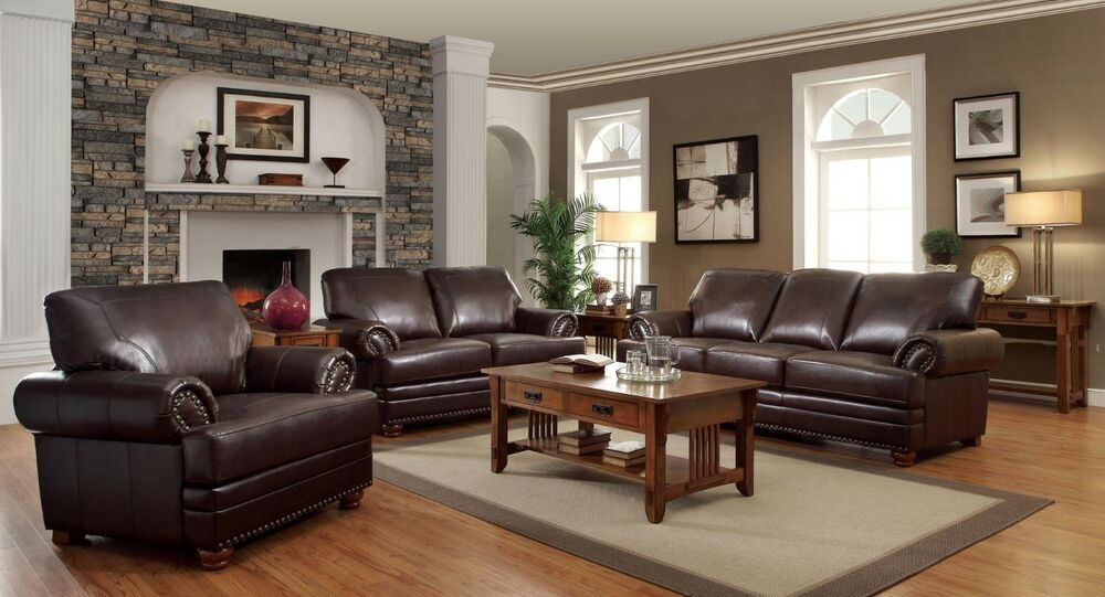 TRADITIONAL STYLISH BROWN BONDED LEATHER SOFA LS  CHAIR