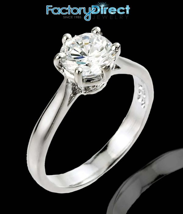Women' 10k White Gold 1ct 6mm Solitaire Cz Engagement Ring