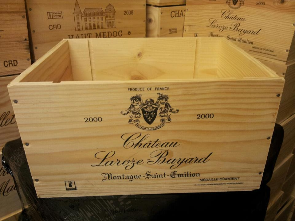 FRENCH CRESTED 6 BOTTLE WOODEN WINE CRATE BOX CHRISTMAS