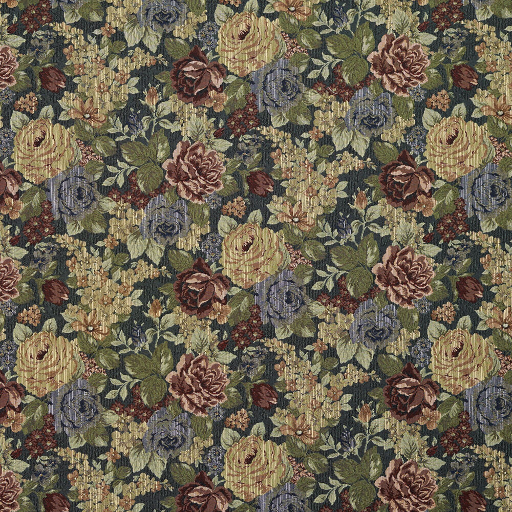 F925 Blue Red And Green Floral Tapestry Upholstery Fabric