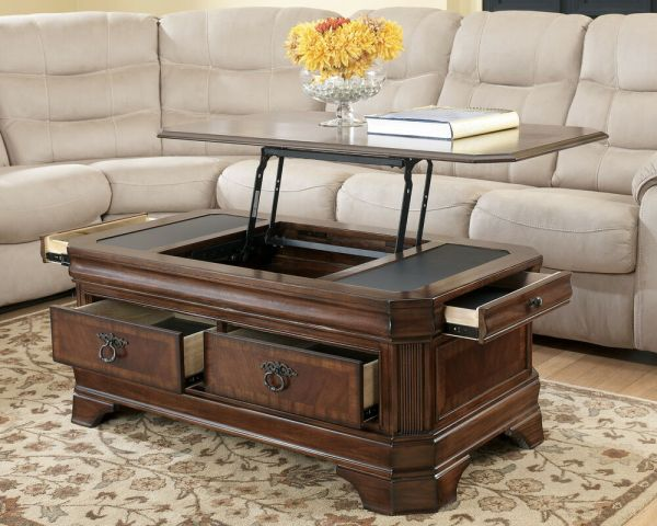 Medium Brown Traditional Lift Top Cocktail Coffee Table