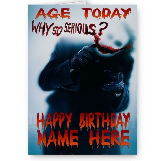 Personalised Name Age Why So Serious Batman Joker A5