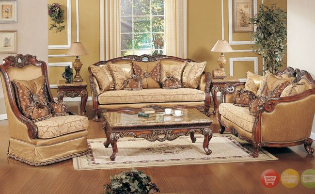 Exposed Wood Luxury Traditional Sofa Loveseat Formal