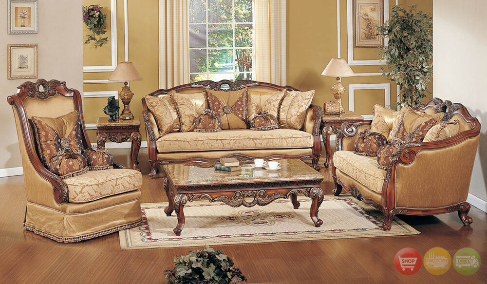 Exposed Wood Luxury Traditional Sofa & LoveSeat Formal