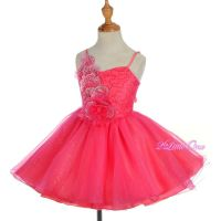 Diamante Sequins Wedding Flower Girl Pageant Dress Coral ...