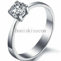 5mm White Round Cubic Zirconia CZ Stainless Steel Promise