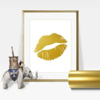 Faux Lips Gold Foil Wall Art Print - Layered REAL Gold ...