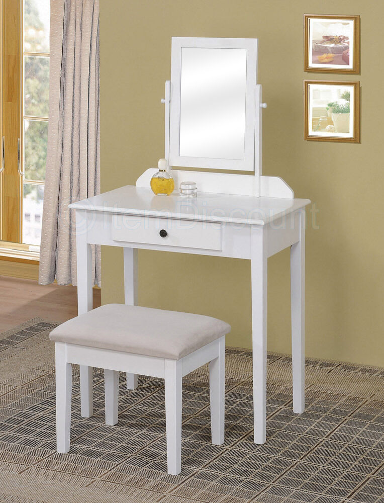 Contemporary White Bedroom Vanity Set Table Drawer Bench Hair Makeup Mirror Wood  eBay