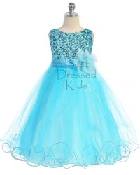 Aqua Blue Sequin Girls Dress Ruffled Tulle Skirt Size 5 6 ...