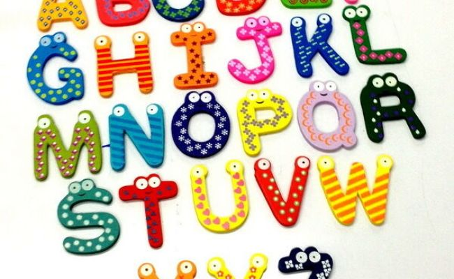A Z 26 Letters Alphabet Wood Fridge Magnet Carton Kid