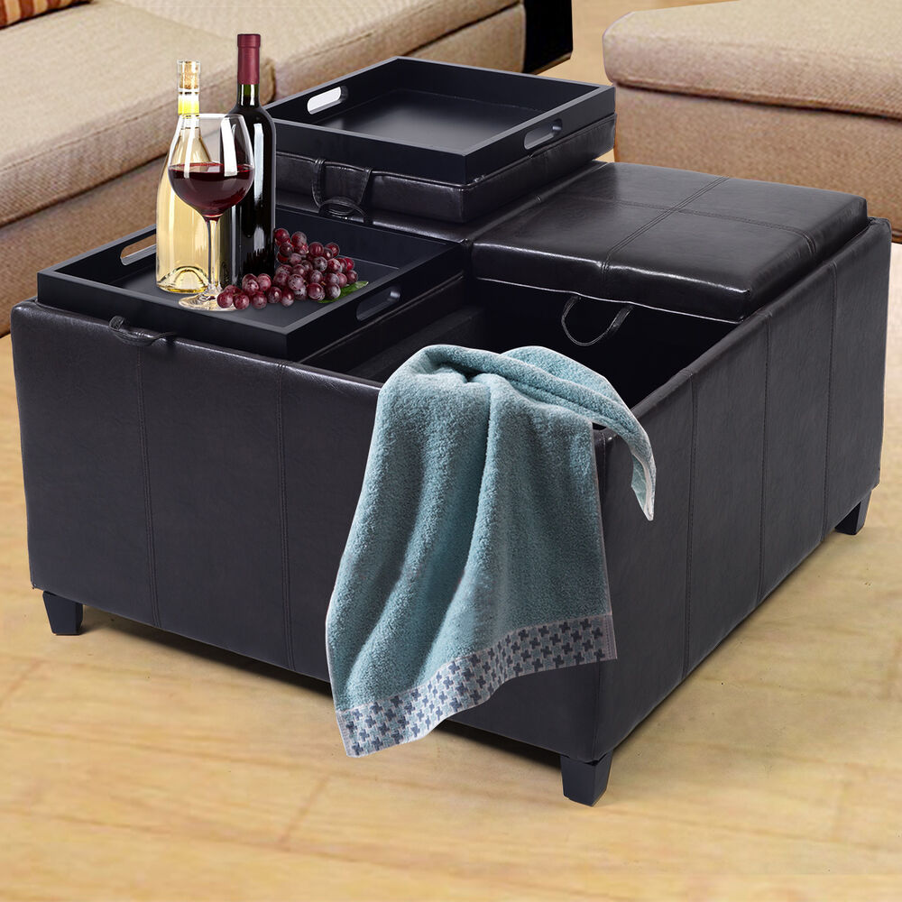 4 Tray Top Ottoman Storage Table PU Leather Bench Coffee