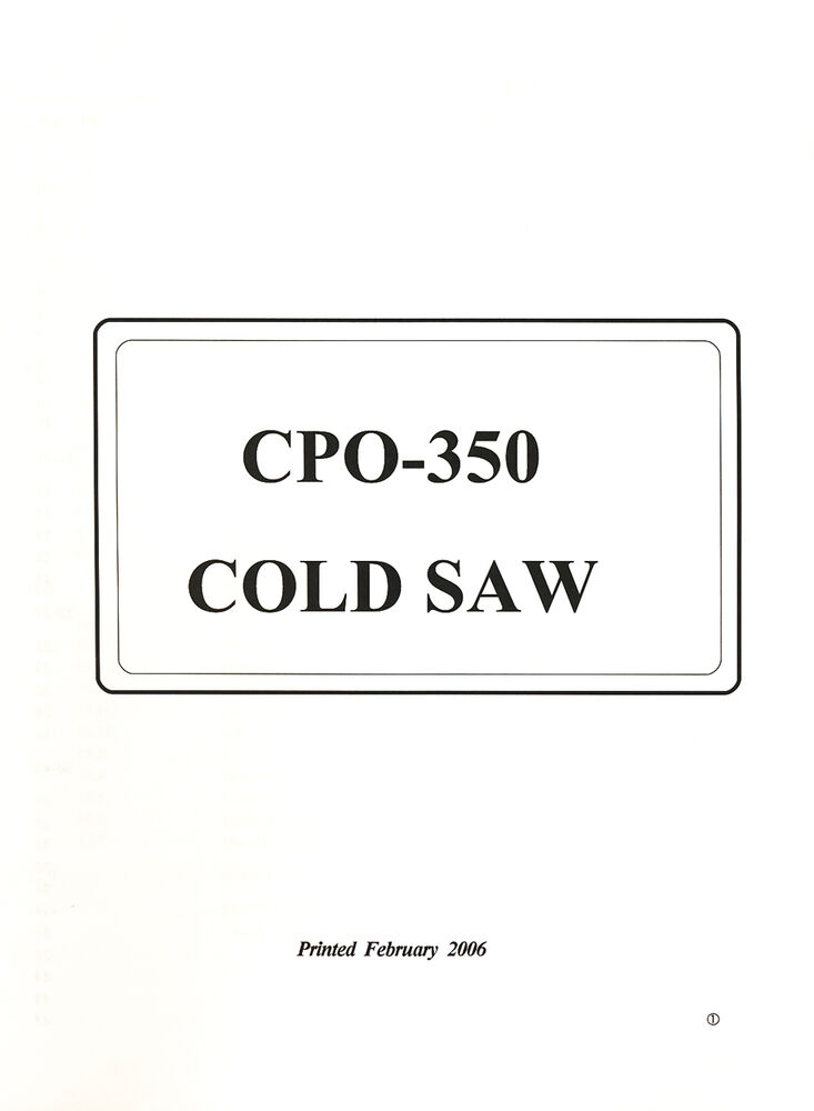 Scotchman CPO350 Coldsaw Instructions and Operations