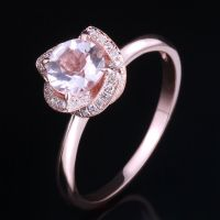 Diamonds 10K Rose Gold 6.5mm Round Cut Halo Pink Morganite