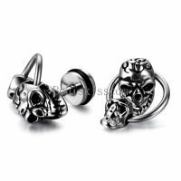 Silver Tone Stainless Steel Punk Gothic Double Skull Stud