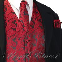 BLACK RED Paisley Tuxedo Suit Dress Vest Waistcoat & Neck