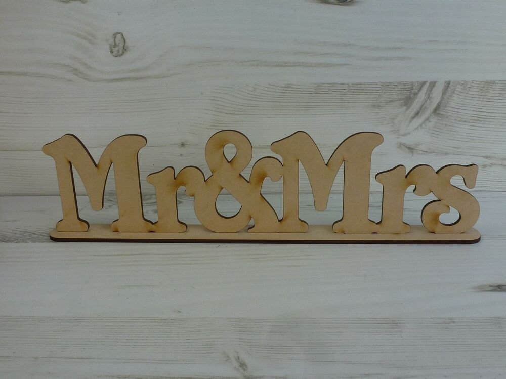 Word Plaque Wedding MR & MRS Free Standing Sayings Sign