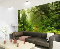 Tropical Dark Green Forest Nature Rainforest 3D Full Wall ...