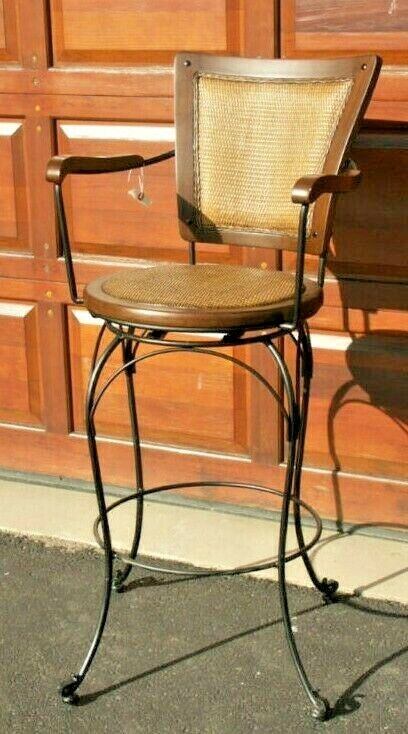 chair bar stool purple leather frontgate barstool iron wicker 30.5