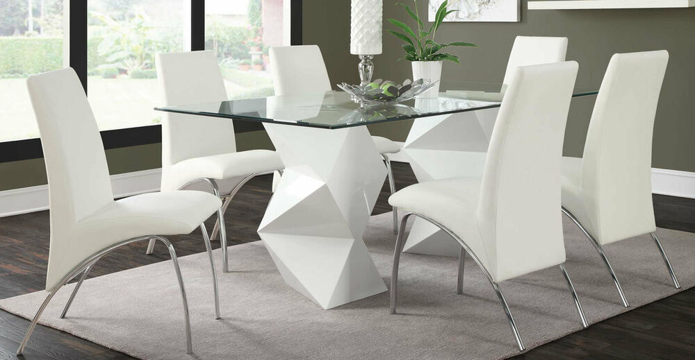 ULTRA MODERN WHITE ZIGZAG DINING TABLE 6 ARCHED CHAIRS